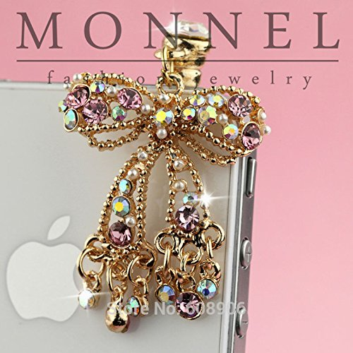 (IP682-B Adorable Crystal Bow Mobile Phone Anti Dust Plug Charm for Iphone Android 3.5mm)