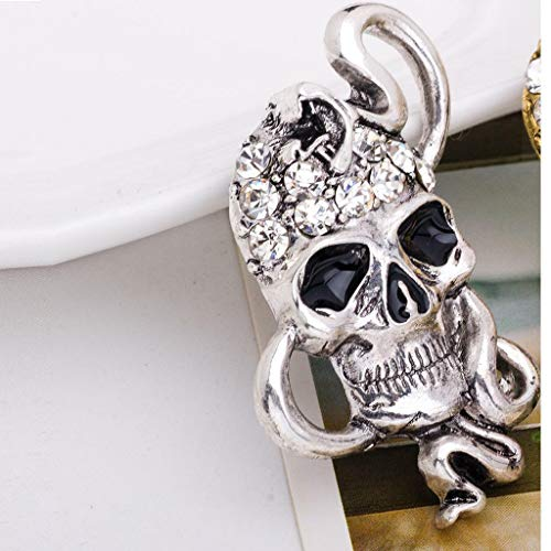 Gothic Punk Skull Skeleton Brooch Lapel Pin Halloween Party Costume Jewelry (Item - 15) -