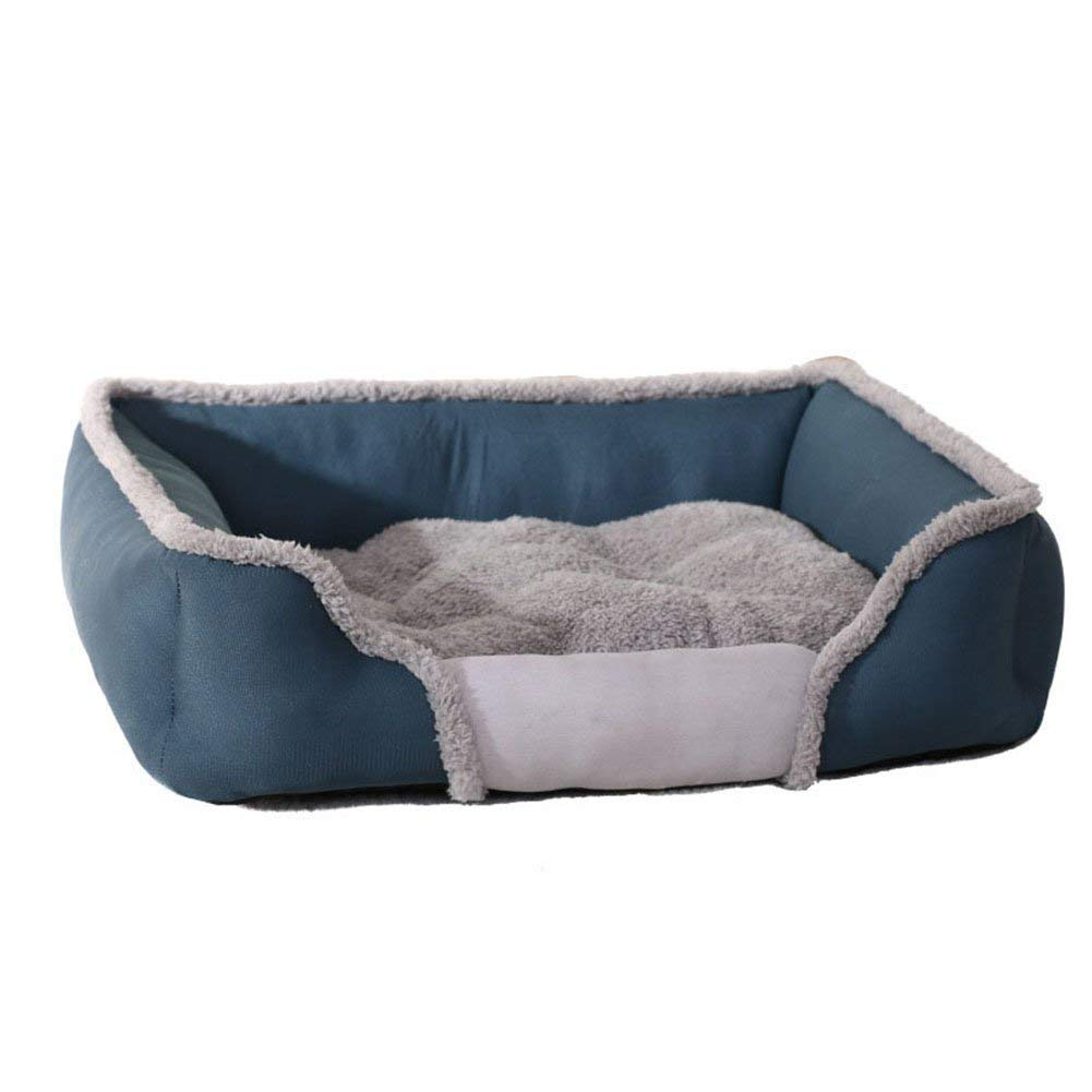 bluee SmallWashable with Removable Mattress Pet Dog Bed Warming Fleece Plush Cushion Dogs Cats Warm Kennel Pets Nest Basket,bluee,S