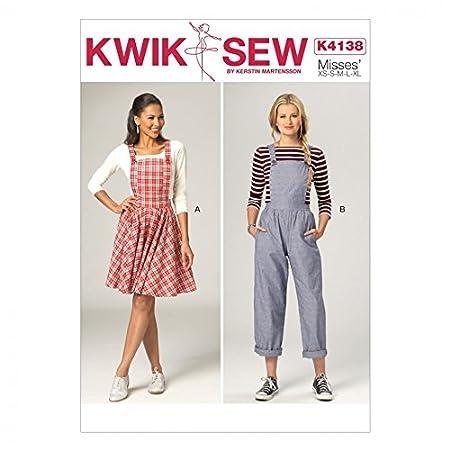 Kwik Sew Ladies Sewing Pattern 4138 Pinafore Dress & Dungarees + ...