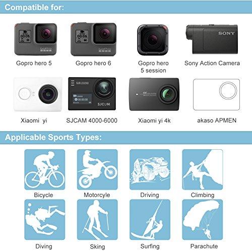 Accessori per Gopro Hero 7 6 5, Kit Accessori Action Cam per Go Pro Hero 2018 Hero Session 5 4 3 2 1 Black AKASO EK7000 Apeman Dpower Xiaomi di LUSCREAL.