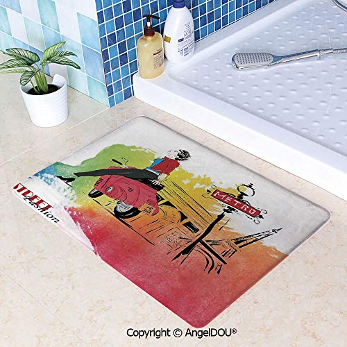 SCOXIXI Living Room Bedroom Carpet Thicken Non-Slip Mat Woman on Pink Motorcycle Trend Vogue in Paris Eiffel Tower Art Print for Home Hotel Cafe Restaurant Area Rugs.W23.6xL35.4(inch)