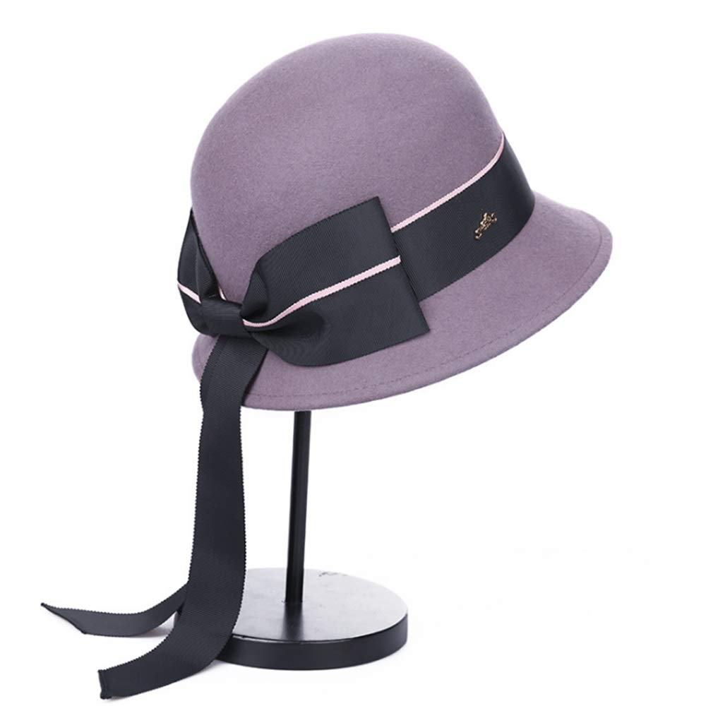 906e4a6760e70 Aihifly Retro Long Ribbon Bowknot Wool Felt Cloche Fedora Hat For Ladies  Church Bowler Hats Derby Party Fashion Winter Women Casual Soft Classic Cap  Vintage ...