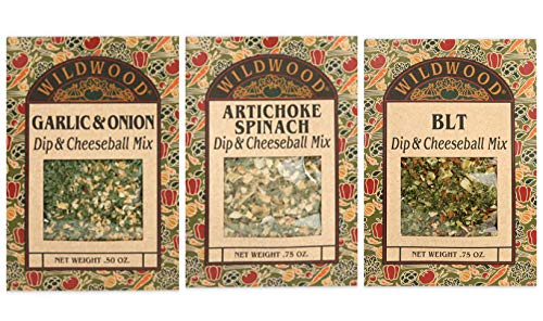 Wildwood Dip & Cheeseball Mix in 3 Flavors: (1) Artichoke Spinach, (1) Garlic & Onion, and (1) BLT (3 Packs Total, .50 Ounces Each)