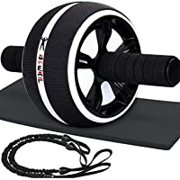 Lafeni Ab Roller Wheel with Resistant Band (White/Black)