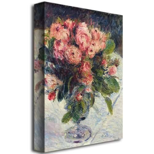 Moss Roses, 1890 by Pierre-Auguste Renoir, 35×47-Inch Canvas Wall Art