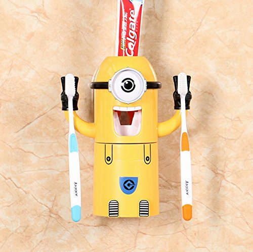 Minions Toothpaste Dispenser - Kids Toothbrush Holder -Let children love to brush their teeth (Monocular) by China Excellent goods store
