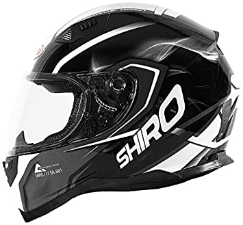 Shiro casco, Motegi BLACK-WHITE, tamaño M