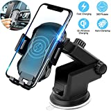 Wireless Charging Car Mount, Auto Clamping Car Phone Holder,10W Qi Fast Car Charger,Adjustable Gravity,Windshield Dashboard Air Vent Compatible with iPhone Xs/Max/X/XR/8/8 Plus,Samsung Note9/S9+/S8