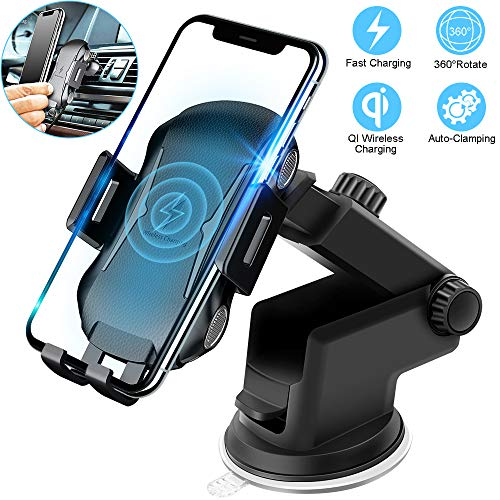 Wireless Charging Car Mount, Auto Clamping Car Phone Holder,10W Qi Fast Car Charger,Adjustable Gravity,Windshield Dashboard Air Vent Compatible with iPhone Xs/Max/X/XR/8/8 Plus,Samsung - Chip Black Case Attache