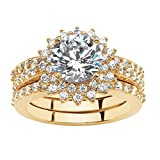 14K Yellow Gold over Sterling Silver Round Cubic Zirconia Halo Jacket Bridal Ring Set