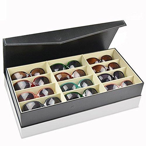 Black Display Case Leather Sunglasses Organizer Box Family Eyewear Storage Usage 12 - Website Eyeglasses