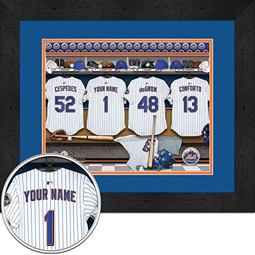 New York Mets Team Locker Room Personalized Jersey Officially Licensed MLB Sports Photo 11 x 14 Print ()