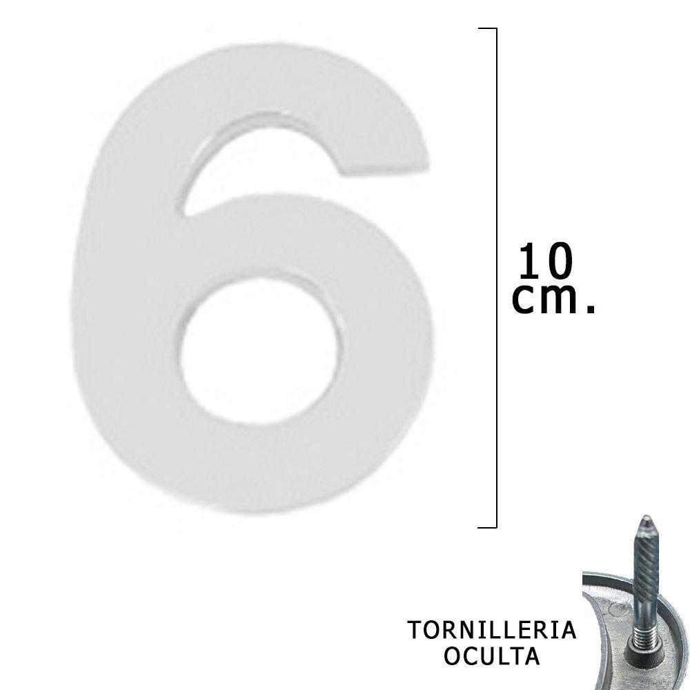 WOLFPACK 5320016 Numero Metal '6' Plateado Mate 10 cm. con Tornilleria Oculta (Blister 1 Pieza)