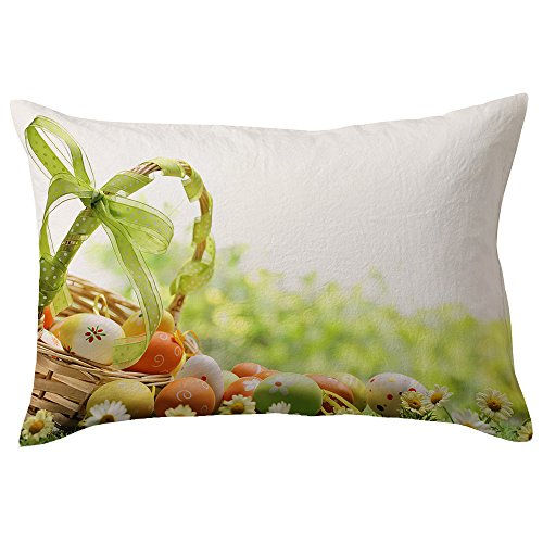 (Fenleo❤️Easter Pillowcase Easter Rectangle Pillow Cover Cushion Case Toss Pillowcase Hidden Zipper Closure)