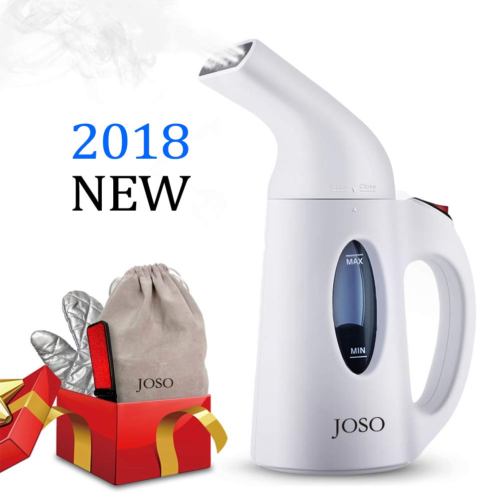 JOSO Garment Steamers Clothes Steamer Mini Handheld Steamer 2018 New Design Automatic Shut-Off Safety Protection 800W Fast Heating Portable Clothing Steamer 150ml Water Tank, for Travel and Home, with Cloth Brush and Carrying Bag and Glove (White)