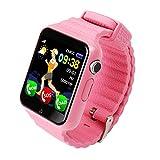 Alloet 1.54in Screen Waterproof Smart Watch GPS Tracker SIM Wristwatch (Pink)