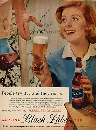 (People try it - and they like it Carling Black Label Beer ad 1958 redhead L)