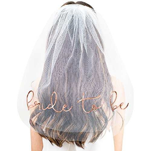 Lovely Bride To Be Metallic Rose Gold Tulle Veil - Bachelorette Accessories and Supplies for the Bride - White Veil(LVB2B RSGLD) Wht