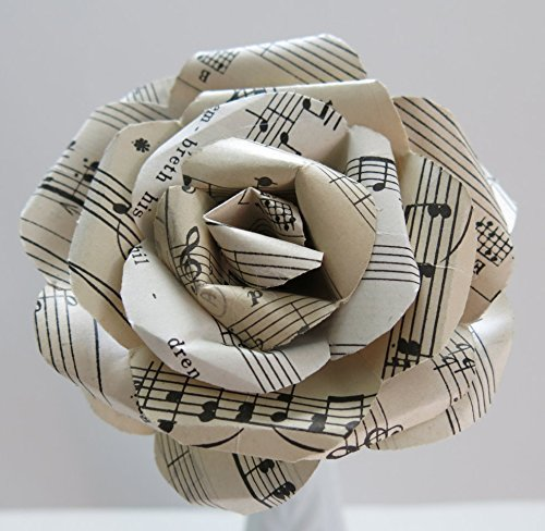 Vintage Sheet Music Paper Rose on Stem, Sculpted Flower, Black & White Large 4