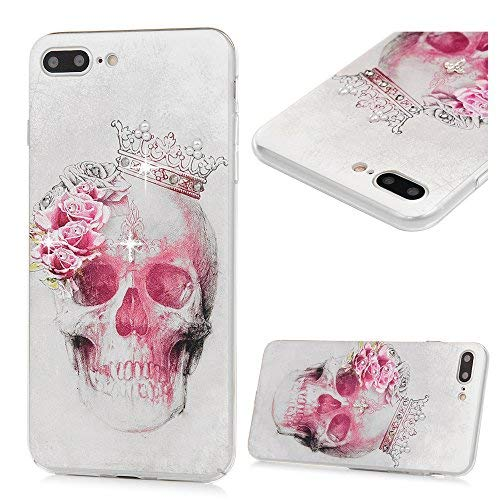 iPhone 7 Plus Case, iPhone 8 Plus Case, Crystal Clear Transparent Bling Shiny Crystal Diamond Design PC Hard Back Skin Shell Full Protective Case Cover for iPhone 7/8 Plus 5.5 inch - Pink Skull