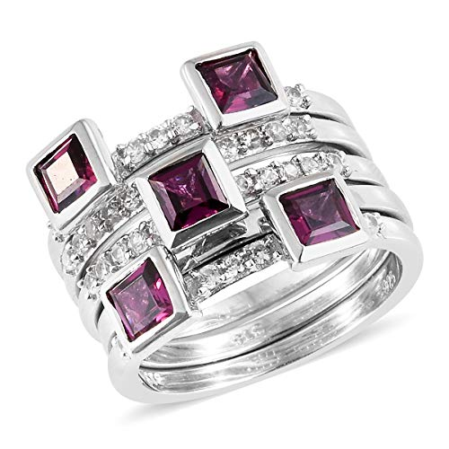 Square Chrome Plated Clock - Sterling Silver Platinum Plated Square Rhodolite Garnet Zircon Stackable Rings For Her Size 7 Cttw 2.5
