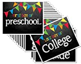 Chalkboard Signs for First Day & Last Day of School, 8'' x 10'', Preschool - College in Primary Color Flags for Boys or Girls,16-Grade Levels: Preschool, Pre-K, Kindergarten, 1st-12th Grades to College
