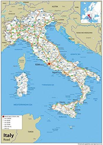Italia Cartina Autostradale.Cartina Stradale Dell Italia Con Carta Plastificata Misura A1 59 4 X 84 1 Cm Amazon It Cancelleria E Prodotti Per Ufficio