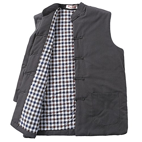 ZooBoo Winter Jacket Heated Vest - Chinese-style Collar Cotton Waistcoat Tang Zhuang Coat for Men Women and Boys (Gray, L)