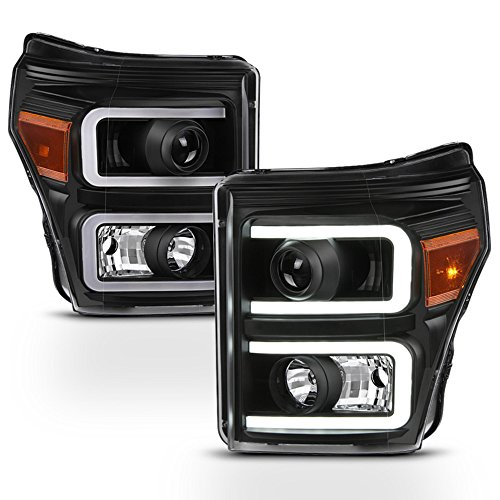 ACANII - For Black 2011-2016 Ford F250 F350 F450 SuperDuty LED Tube DRL Projector Headlights Driver + Passenger Side