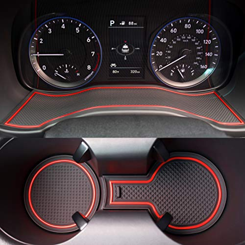 Custom Fit Cup, Door, Center Console Liner Accessories for 2018 2019 Hyundai Kona 19PC Set (Red Trim)
