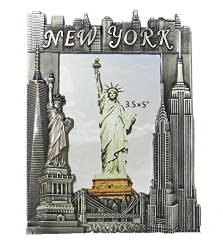 New York Souvenir Metal Pewter Picture Frame with Statue of Liberty Empire State Building Freedom Tower NYC Skyline Fits 3.5x5 -