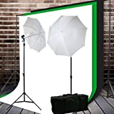 ePhoto Photography Video ChromaKey 10ftx20ft Muslin Green, Black and White Background Support Stand Umbrella ligting Kit by ePhotoInc HKZ04