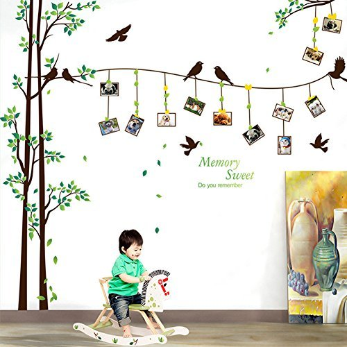 SRHOME Large Family Tree Wall Sticker Photo Frames Wall Decal--Removable Wall Decor Art Stickers Vinyl Decals,Wall Decor for Living Room,Bedroom --DIY Photo Gallery Frame Decor Sticker