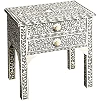 Butler Gray Bone Inlay End Table Cabinet Dresser Bone Handmade Inlay Furniture