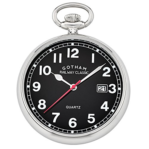 Gotham Men's Silver-Tone Analog Quartz Date Railroad Pocket Watch # GWC14101SB (Silver Date Watch Pocket)
