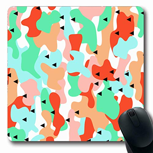 (Ahawoso Mousepad Oblong 7.9x9.8 Inches Undercover Air Camouflage Blue Green Orange Abstract Force Army Cam Camo Combat Design Geometry Office Computer Laptop Notebook Mouse Pad,Non-Slip Rubber)