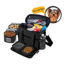 Dog Travel Bag - Week Away Tote For Small Dogs - Includes Bag, 2 Lined Food Carriers, Placemat, and 2 Collapsible Bowls