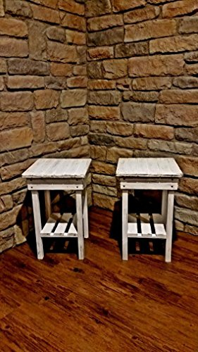 Distressed Night Stand Set /White Distressed End Table Set /Bed Side Tables/Rustic Table/Farmhouse Side Table/Vintage…