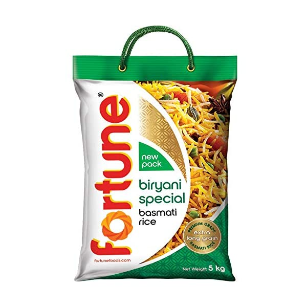 Fortune Biryani Special Basmati Rice, Extra long grain basmati rice, 5 KG 2021 August Longest basmati grain Enticing aroma Non-sticky after cooking
