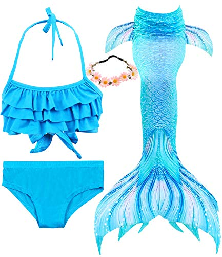 Garlagy 3 Pcs Girls Swimsuit Mermaid Tails for Swimming Bikini Set Bathing Suit Swimmable Can Add Monofin for 3-14Y (10-12/Ht:55-60in(tag 150), A-a Blue Ruffle)