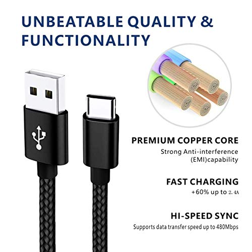 USB Type C Cable 10ft Fast Phone Charger Cord for Samsung Galaxy A10e A20 A50 A51 A71 A30s S8 S9 S10 S20 Ultra, Moto G7 Power G6 Z3 Z4, LG K51 Stylo 6 5 4 G5 G8 V40 V20 Thinq, New Kindle fire 10