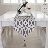 Modern grey brief style cotton handmade tassel home party gift table runner 80 inch approx