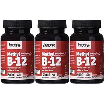 Jarrow Formulas Methylcobalamin (Methyl B12), Supports Brain Cells, 5000 mcg, 60 Lozenges (CHERRY: 5000 MCG, 180 Lozenges)