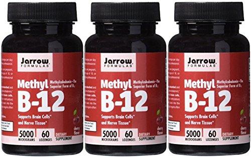 Jarrow Formulas Methylcobalamin (Methyl B12), Supports Brain Cells, 5000 mcg, 60 Lozenges (CHERRY: 5000 MCG, 180 Lozenges) by Jarrow