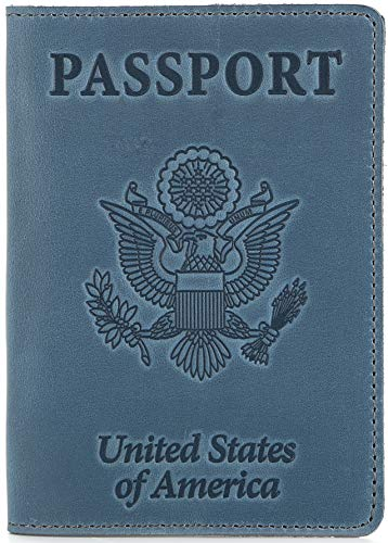 Shvigel Leather Passport Cover - Holder - for Men & Women - Passport Case (Light Blue Vintage)