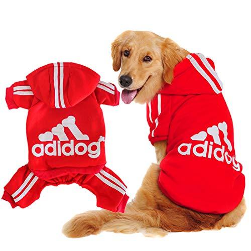 Scheppend Original Adidog Big Dog Large Clothes Sport Hoodies Sweatshirt Pet Winter Coat Retriever Outfits, Red 6XL