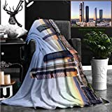 """Nalagoo Unique Custom Flannel Blankets Madrid Spain Financial District Skyline At Dusk Super Soft Blanketry for Bed Couch, Throw Blanket 60"""" x 40"""""""