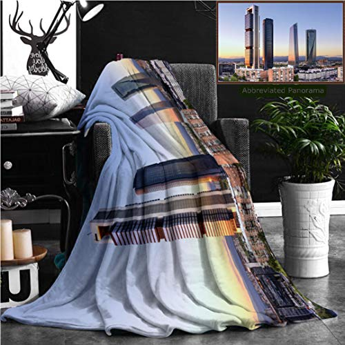 "Nalagoo Unique Custom Flannel Blankets Madrid Spain Financial District Skyline At Dusk Super Soft Blanketry for Bed Couch, Throw Blanket 60"" x 40"" by Nalagoo"