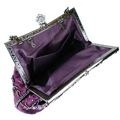 Evening Belsen Handbags Vintage Purple Beaded Women's Sequin 7qwInASq